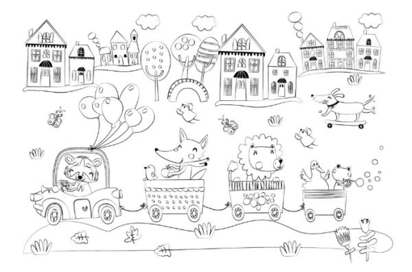 Коврик для творчества-многоразовая раскраска «Путешествие» (32,5х22,5 см)
