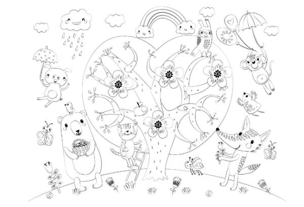 Коврик для творчества-многоразовая раскраска «Сказочное дерево» (44,5х34,5 см)