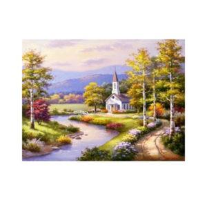 Картина по номерам «Часовня у реки», GX 4808