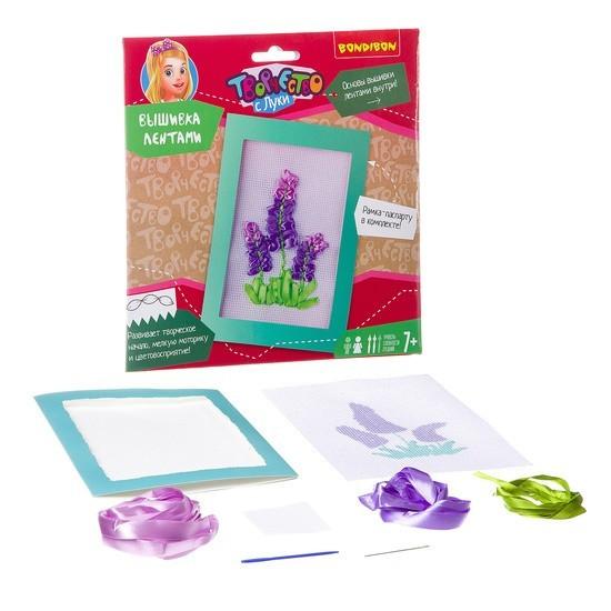 """Вышивка лентами """"Фиолетовые цветы"""" BONDIBON"""