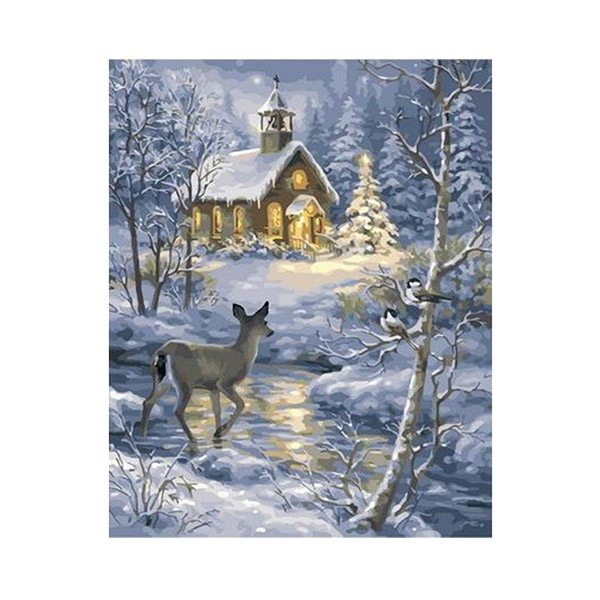 "Картина по номерам ""Хижина зимой в лесу"", GX37115"