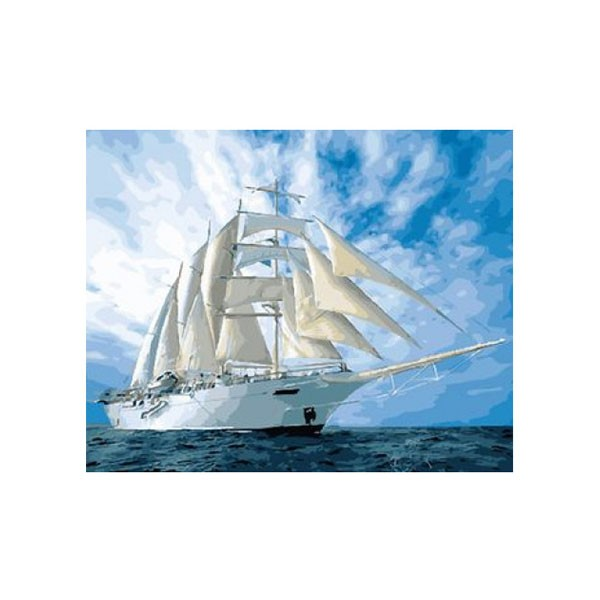 """Картина по номерам """"Белый парусник"""", GX25855"""