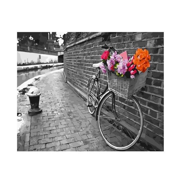 """Картина по номерам """"Велосипед с корзиной цветов"""", GX30525"""
