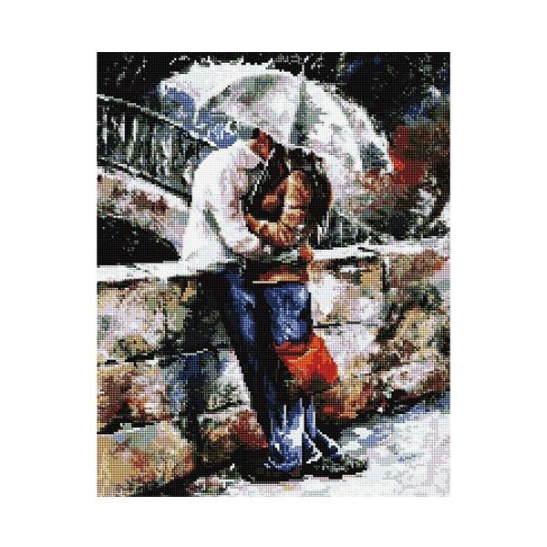 """Алмазная мозаика """"Двое под зонтом"""", 40х50 см"""