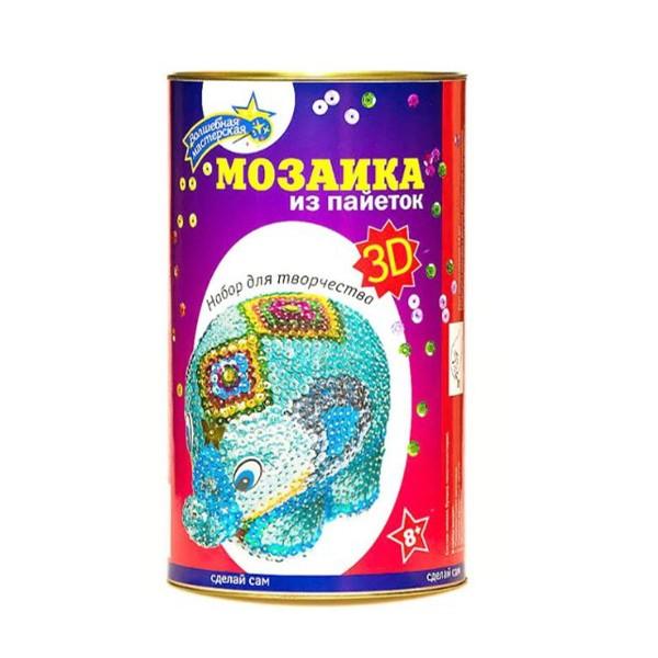 """Набор для творчества """"Мозаика из пайеток 3D. Слон"""", Волшебная Мастерская"""