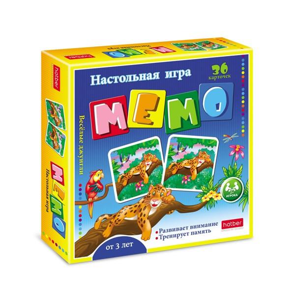 """Настольная игра """"Мемо. Веселые джунгли"""" 36 карточек, Hatber"""