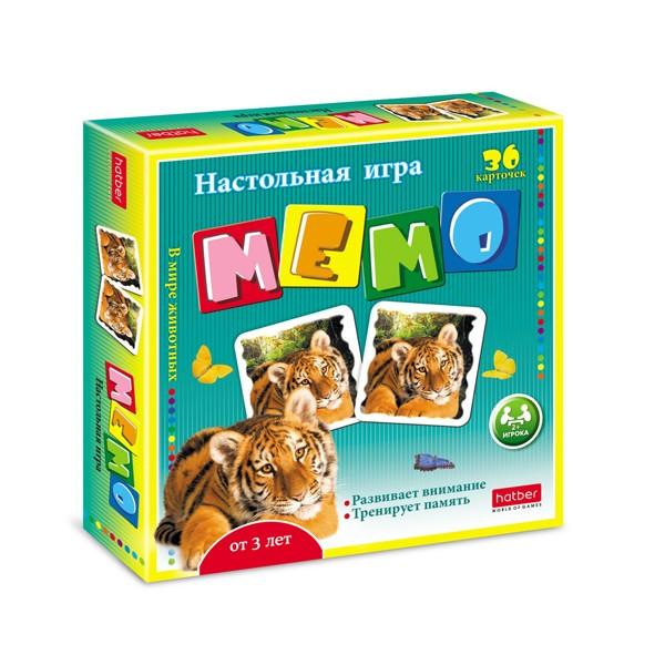"""Настольная игра """"Мемо. В мире животных"""" 36 карточек, Hatber"""