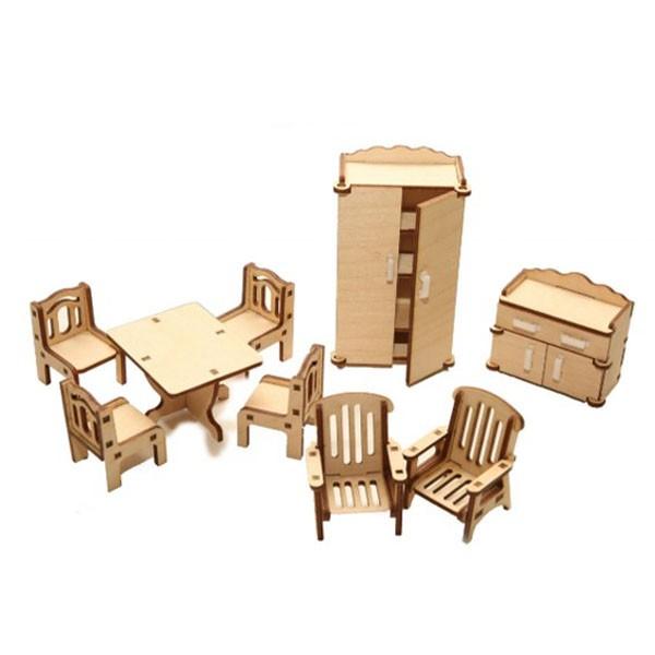 """Деревянная сборная модель-конструктор """"Набор мебели: Зал"""", Polly"""