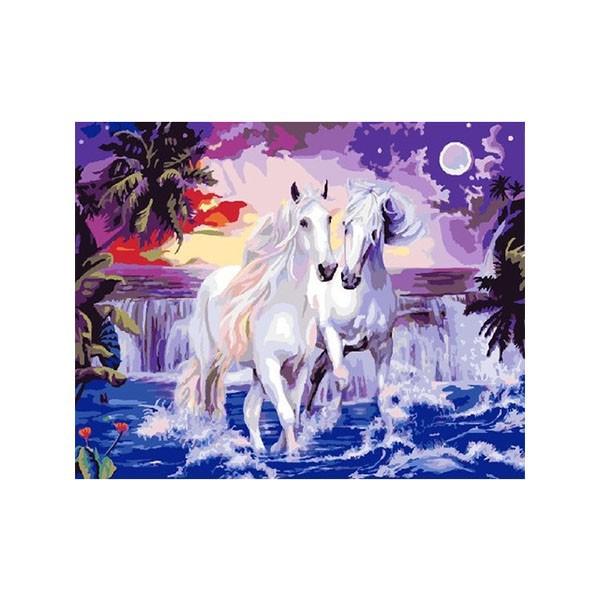 """Картина по номерам """"Две белые лошади"""", CX 3900"""