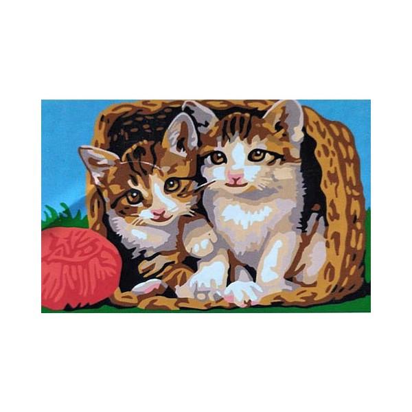 "Картина по номерам ""Котята в корзине"", CX 3529"
